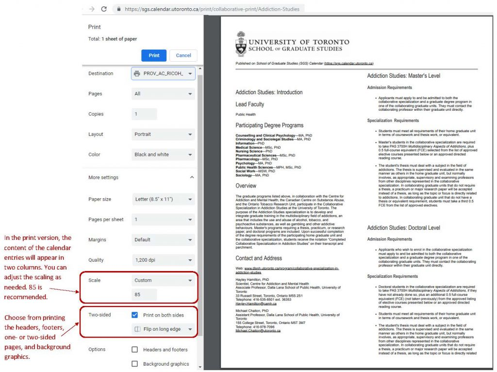 Printing tips for the School of Graduate Studies Calendar
